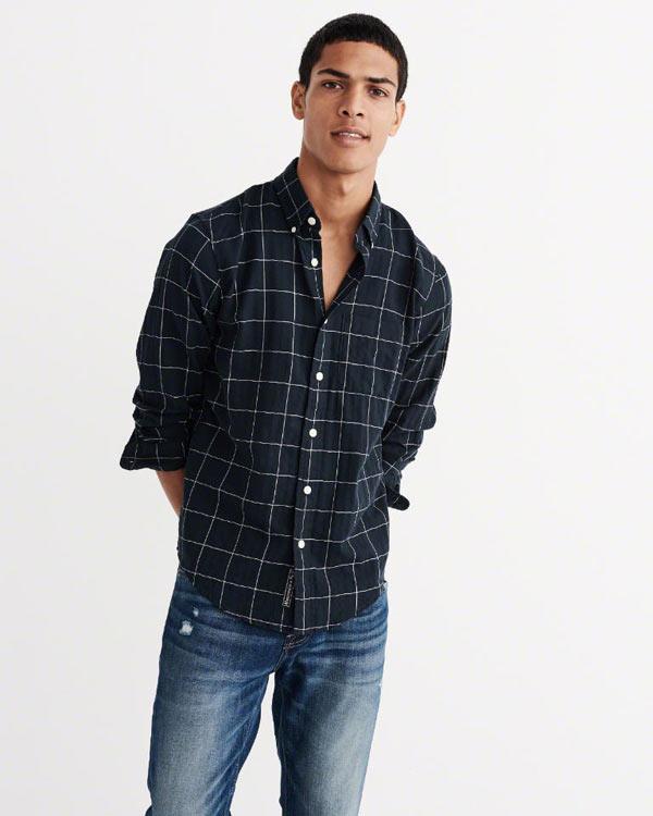 アバクロ新作チェック柄シャツ/ボタンダウンシャツ